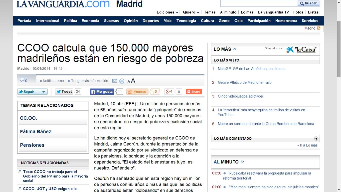 150000 mayores madrileños en riesgo de pobreza