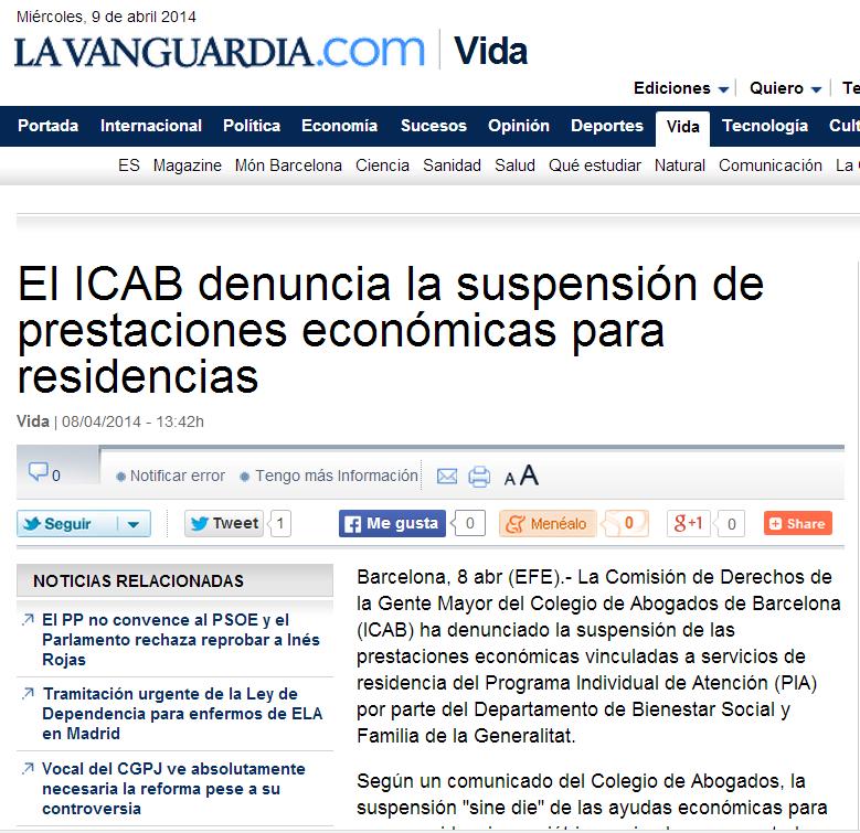 ICAB denuncia suspensión PIA