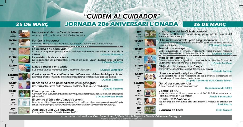 Horario Jornadas 20 Aniversario L'Onada Serveis
